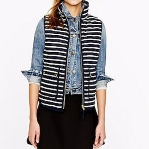 J. Crew excursion quilted down vest in stripe xs